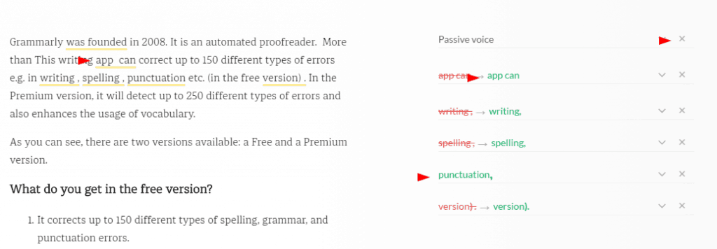 screenshot grammarly
