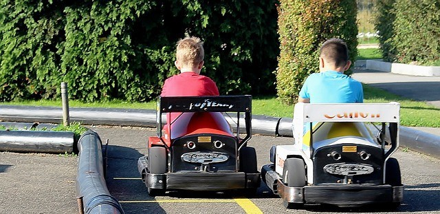 go karts in a theme park